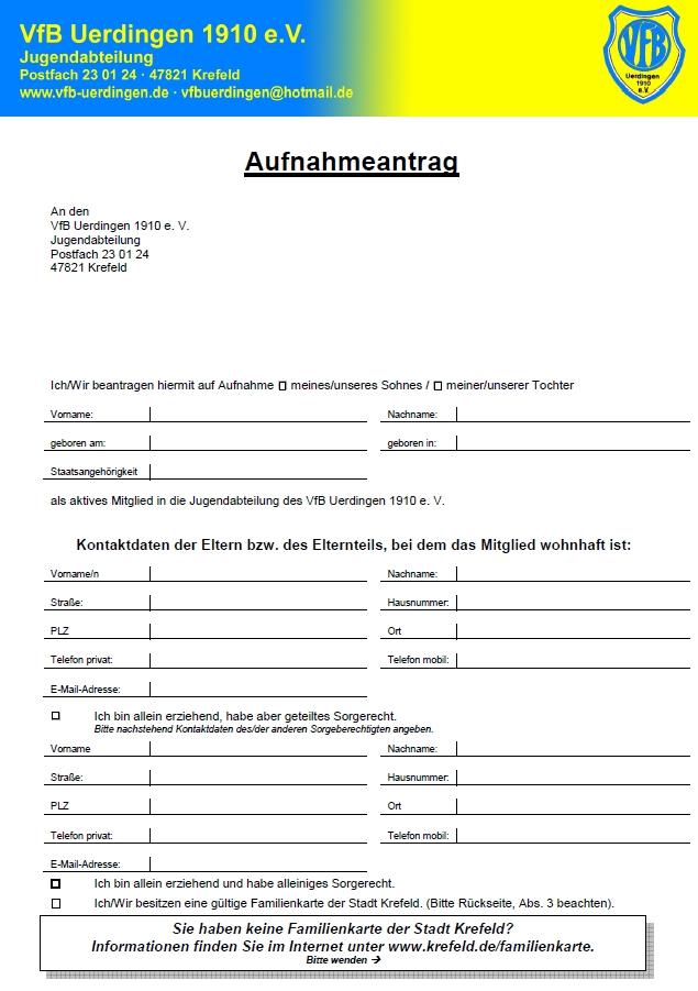 VfB Uerdingen: Aufnahmeantrag
